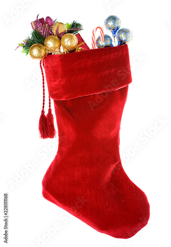 Fotografie, Obraz  Christmas: Red Christmas Stocking with Decorations