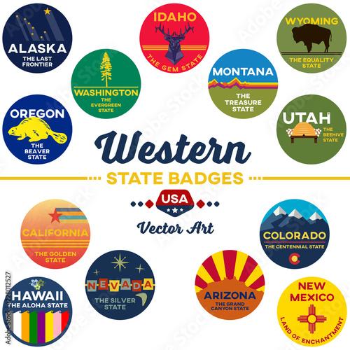 united states | western state digital badges | vector art Canvas Print