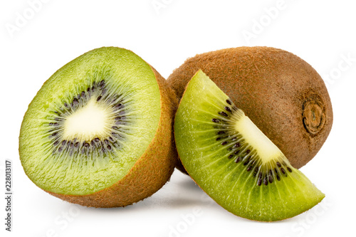 Fotografie, Obraz  Ripe kiwi with a half and a piece of close-up on a white