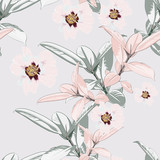 Seamless tropical pattern, vivid tropic foliage, with ficus palm leaves, pink peony flower in bloom. Modern bright summer print design. Vintage light background. - 228013398