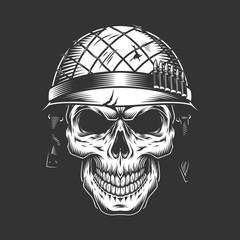 Skull in soldier helmet mon...