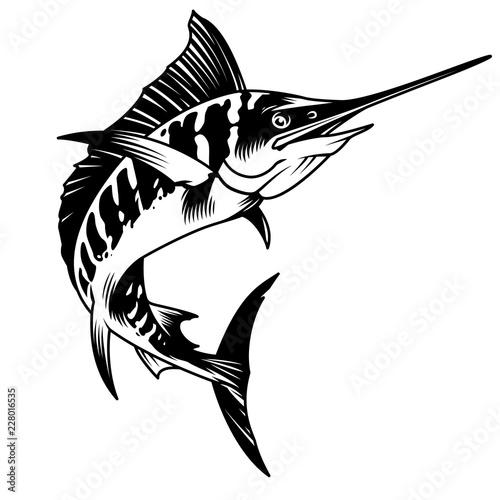 Vintage monochrome marlin fish concept Canvas Print