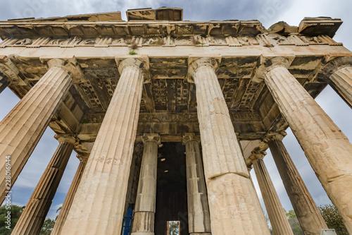 Photo Ancient Temple of Hephaestus Columns Agora Athens Greece