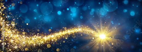 Valokuvatapetti Christmas Golden Star In Blue Sparkle Sky