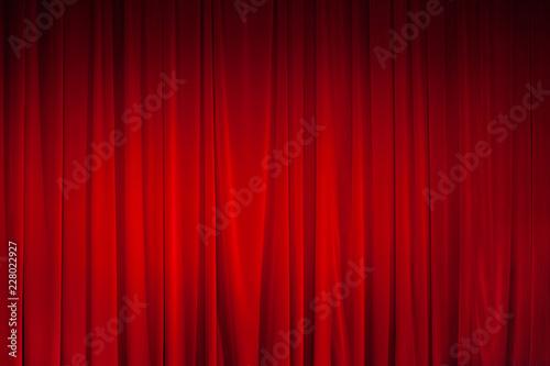 Foto op Canvas Licht, schaduw Red curtain with spotlight