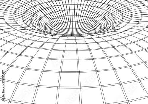 Fototapety, obrazy: Tunnel or wormhole. Digital 3d wireframe tunnel. 3D tunnel grid. Network cyber technology. Surrealism. Background abstract vector image