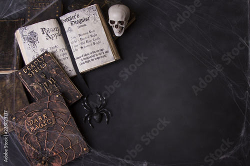 Photo Old spell books with spider webs and a skull