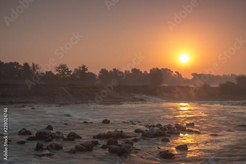 Sunrise over river Sava