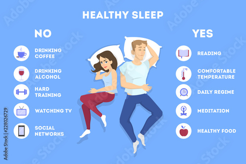 Rules of good healthy sleep at the night. Fototapete