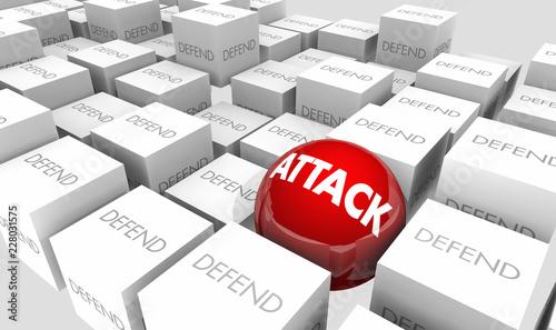 Fotografie, Obraz  Attack Vs Defend Offense Defense Proactive 3d Illustration