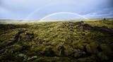 Fototapeta Tęcza - Double rainbow at Eldhraun Lava Moss Field in southern Iceland