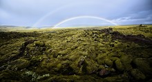 Double Rainbow At Eldhraun Lava Moss Field In Southern Iceland