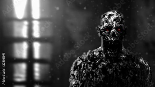 Fotografie, Obraz  Grim zombie apocalyptic face illustration.