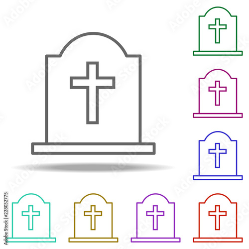 grave with a cross outline icon  Elements of religion in