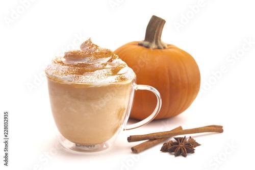 Pumpkin Spice Latte on a White Background