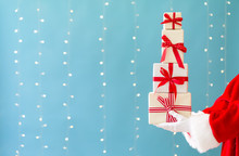 Santa Holding Christmas Gift B...