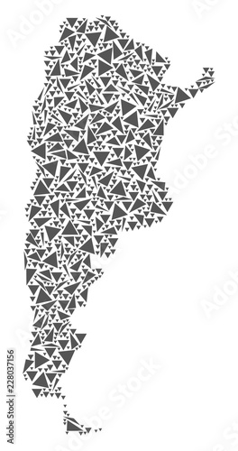 Photo  Vector mosaic abstract Argentina map of flat triangles in gray color