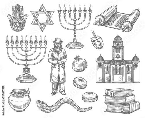 Fototapeta Judaism religion symbols, jewish objects obraz