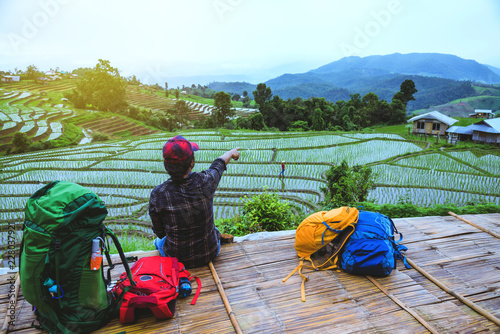 Foto op Aluminium Kuala Lumpur Asian man relax travel nature Viewpoint Rice field the Moutain papongpieng summer in Thailand.