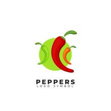 Chili Peppers Logo Symbol Icon Illustration Colorful