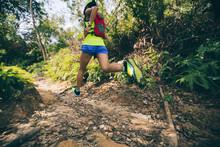 Young Woman Trail Runner Running On Tropical Forest Trail