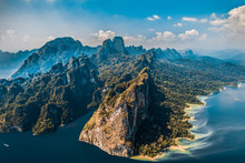 Incredible Scense Of Khao Sok National Park Cheow Lan Dam From Top In Thailand