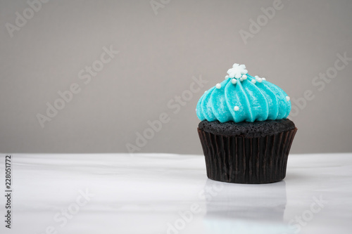 Photo  cute cupcake with small white snow blue cream on white background