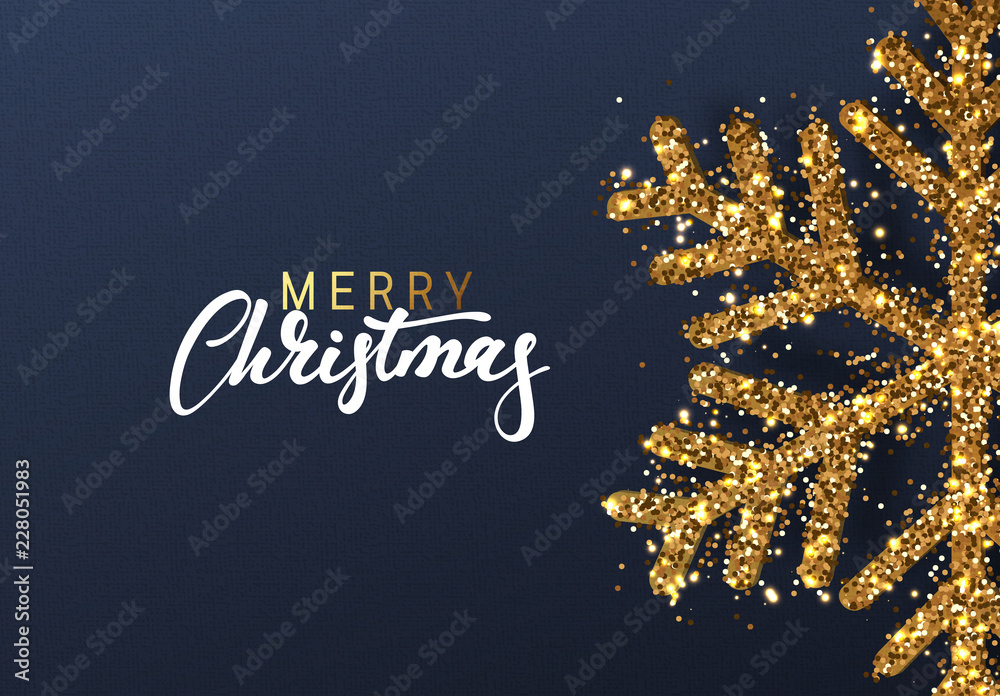 Fototapety, obrazy: Christmas background with Shining gold Snowflakes. Lettering Merry Christmas card vector Illustration.