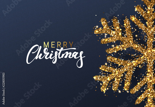 Fotografía Christmas background with Shining gold Snowflakes