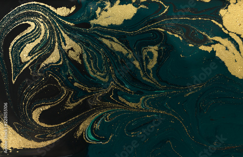 Photo sur Toile Les Textures Gold marbling texture design. Blue and golden marble pattern. Fluid art.