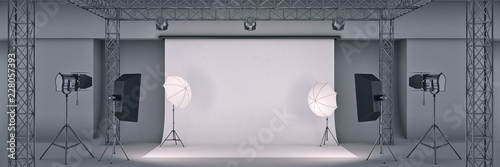Photo  photo studio. 3d rendering