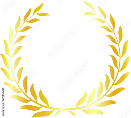 Photo Round frame of gold laurel