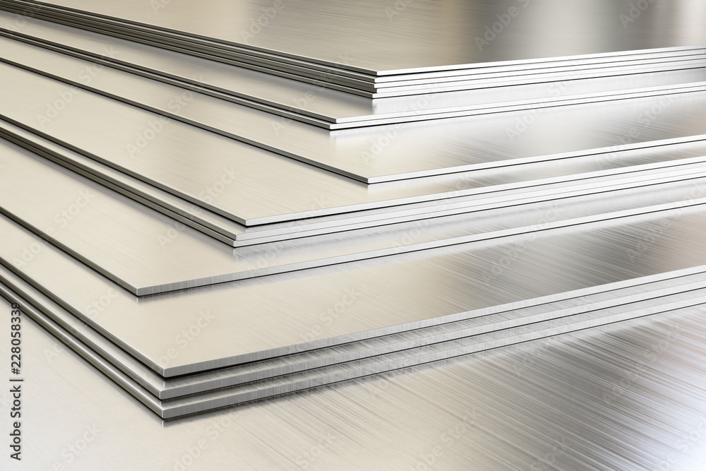 Fototapety, obrazy: Steel sheets in warehouse, rolled metal product. 3d illustration.