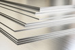 Leinwanddruck Bild - Steel sheets in warehouse, rolled metal product. 3d illustration.