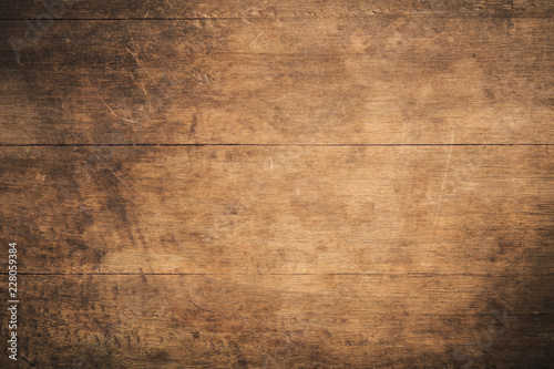Old grunge dark textured wooden background , The surface of the old brown wood texture , top view teak wood paneling - 228059384