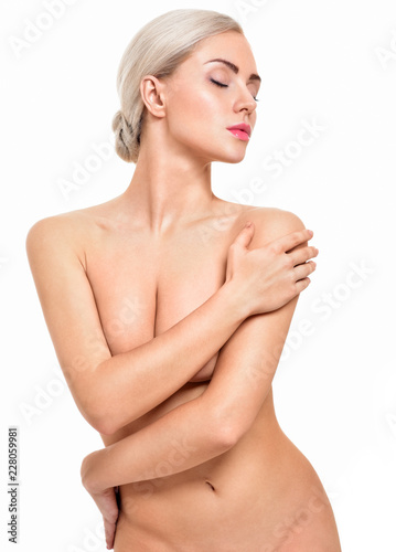 Fotografia, Obraz  Beautiful young woman with clean skin nude topless breasts
