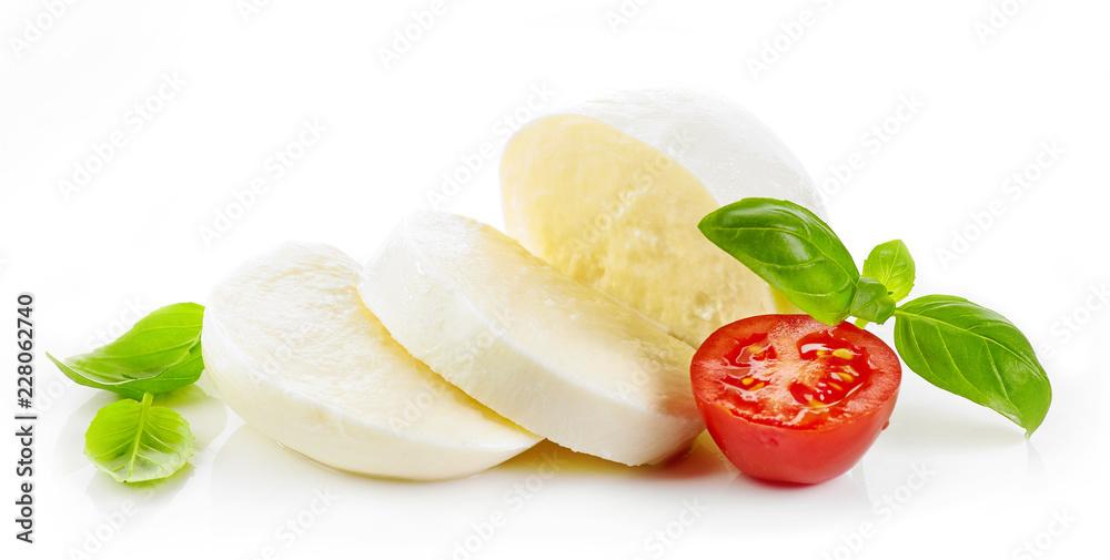Fotografía Mozzarella cheese on white background