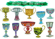 Antique Cups And Goblets Isola...