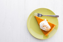 Slice Of Pumpkin Pie With Whip...