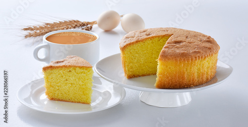 Plain sponge Cake, A  firm yet well-aerated sponge structure made with flour, ba Fototapet