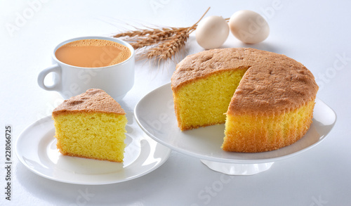 Plain sponge Cake, A  firm yet well-aerated sponge structure made with flour, ba Canvas Print