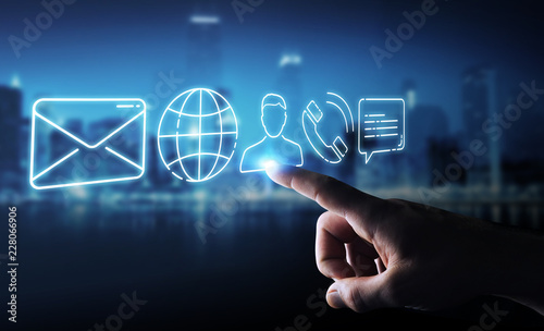 Businessman using thin line contact icon