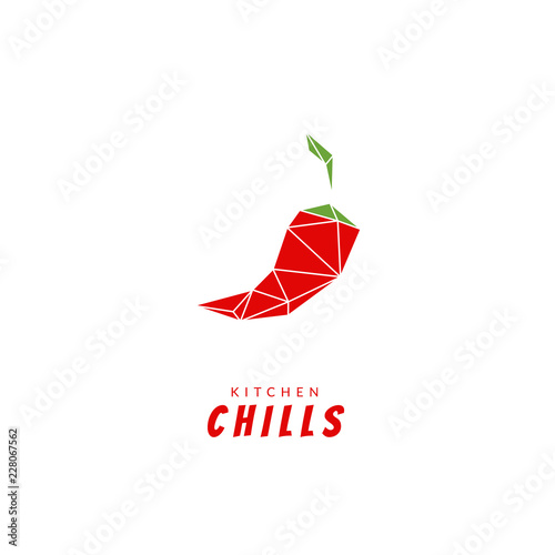 Photo  Low poly abstract kitchen red chilli pepper logo icon modern simple illustration