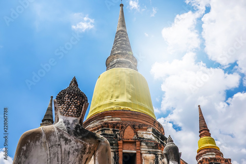 Fotobehang Temple Old Temple Architecture , Wat Yai Chai Mongkol at Ayutthaya is the famous Temple in Ayutthaya, Thailand