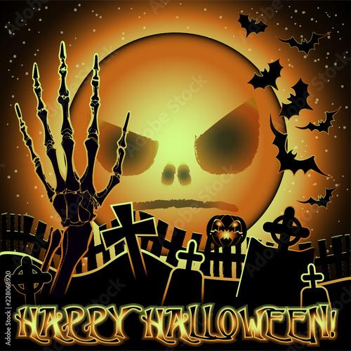 Fotografie, Obraz  Happy Halloween wallpaper with moon and zombie hand , vector illustration