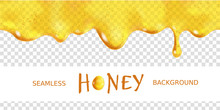 Seamless Dripping Oil. Yellow Transparent Drop Of Sweet Honey With Bubbles. Vector Design Of Syrup Drips. Realistic Background Horizontal Border