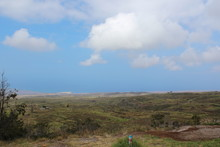 Hwaii Landscape : Ocean Coeat And Blue Sky, Mountains And Clouds