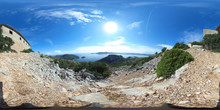 360 Degree Spherical Panorama From Ancient Watchtower Albercutx Watchtower In Pollenca In The Sierra De Tramuntana Of Mallorca With View On The Ocean - Spain