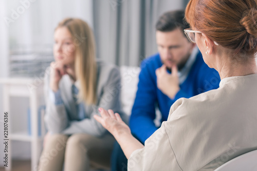 Married couple during a therapy session with a psychologist