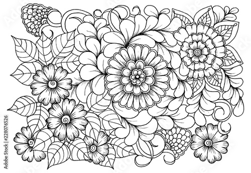 Page for coloring book. Outline flowers. Doodles in black ...